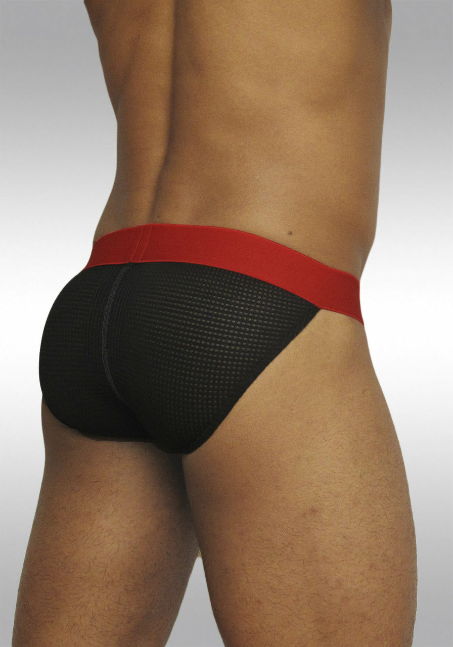 MAX Mesh Bikini Black/Red with pouch - Back view