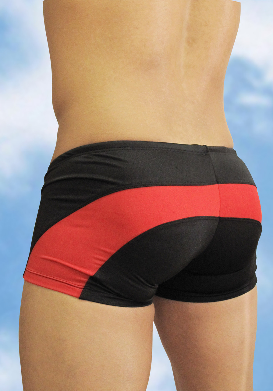 Men's Black-red swimsuit mini trunk with enhancing FEEL pouch - back