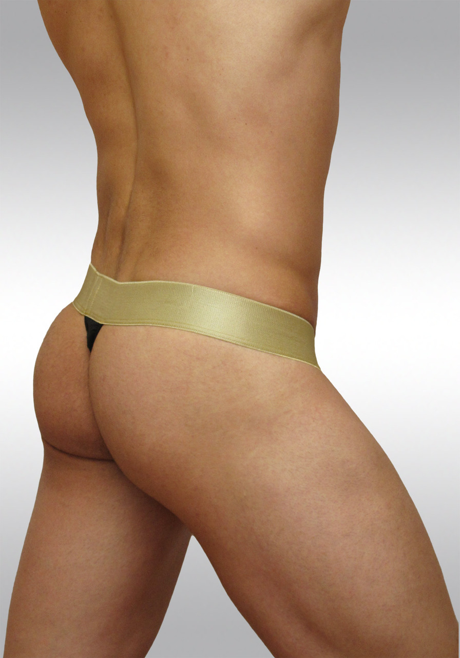 MAX Suave ergonomic microfiber thong - black-gold - Back