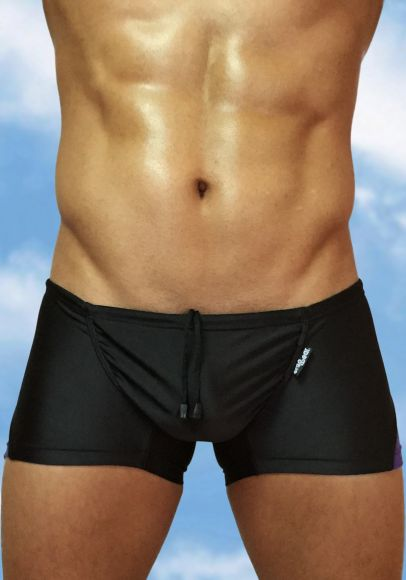 Men's Black-indigo swimsuit mini trunk with enhancing FEEL pouch - front