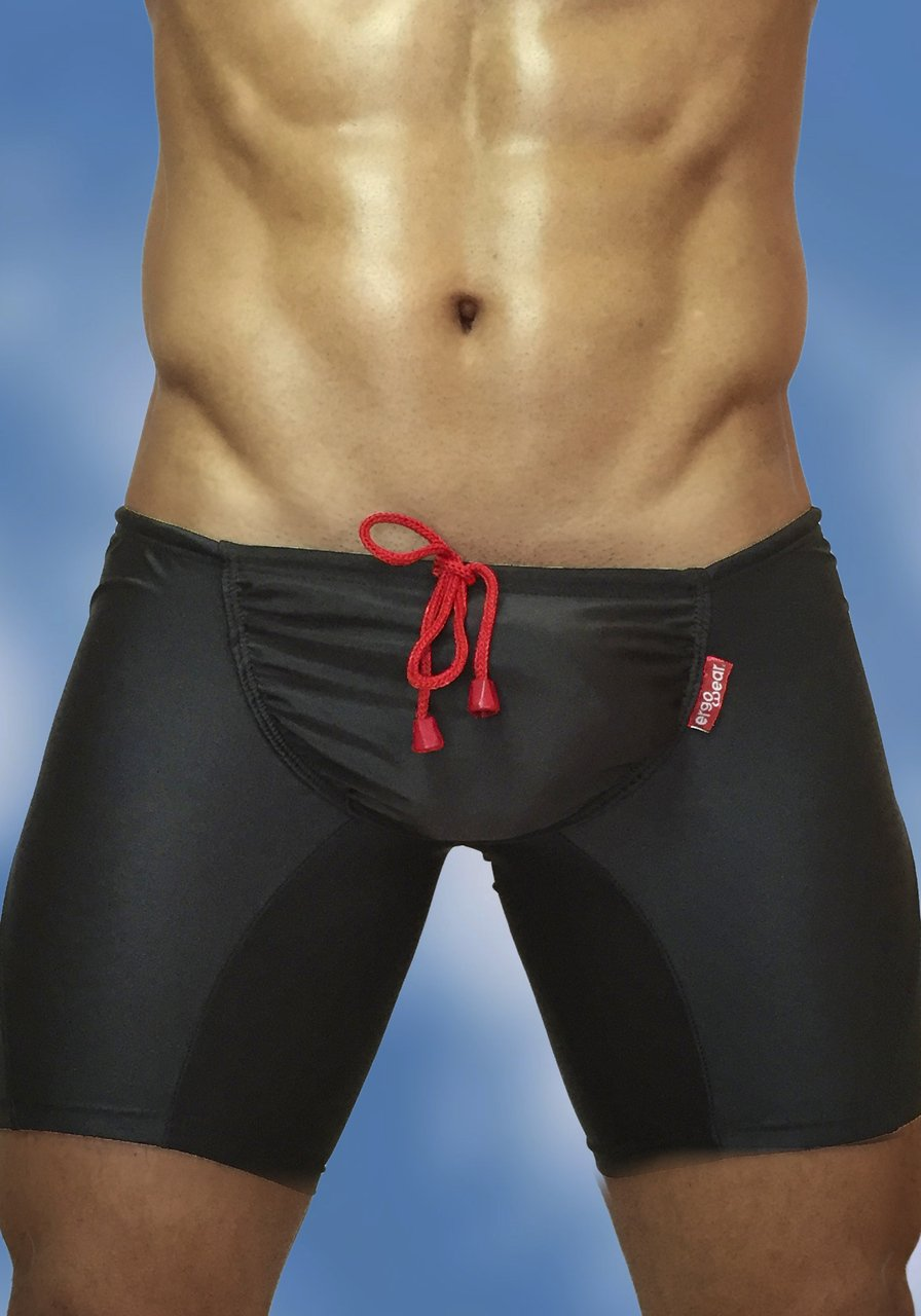 Black swimsuit trunk with enhancing FEEL pouch - front A