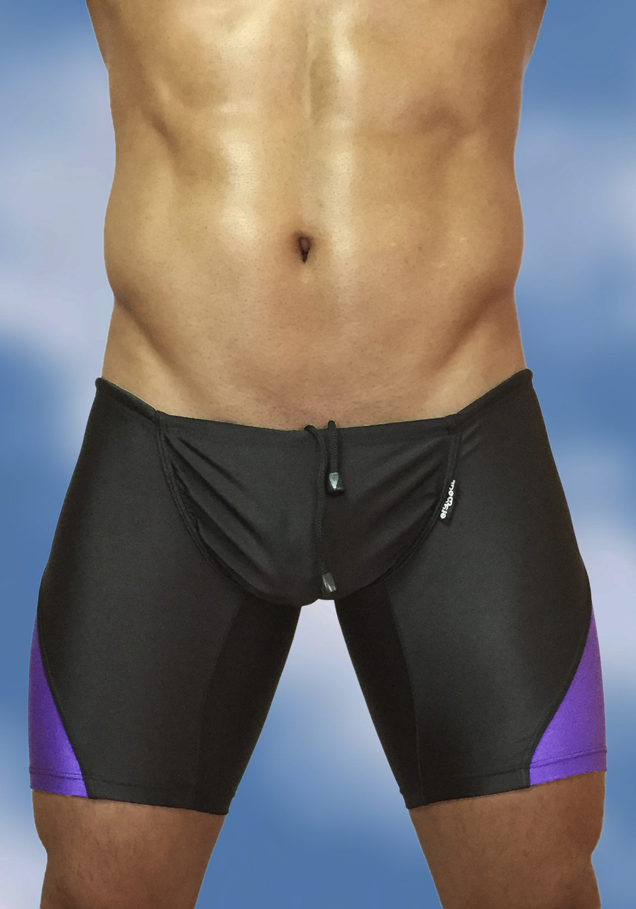 Black-indigo swimsuit trunk with enhancing FEEL pouch - front