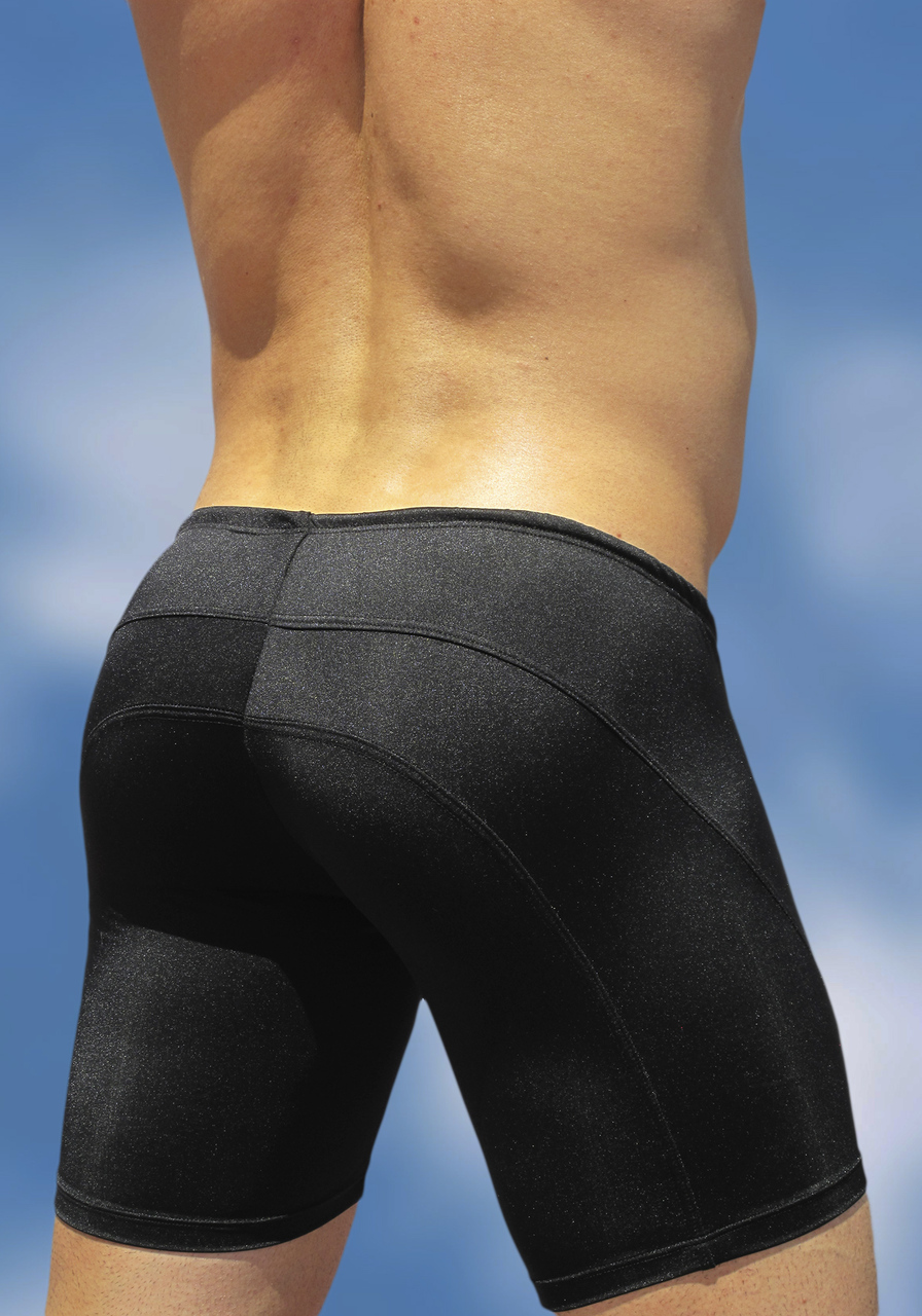 Black swimsuit trunk with enhancing FEEL pouch - back