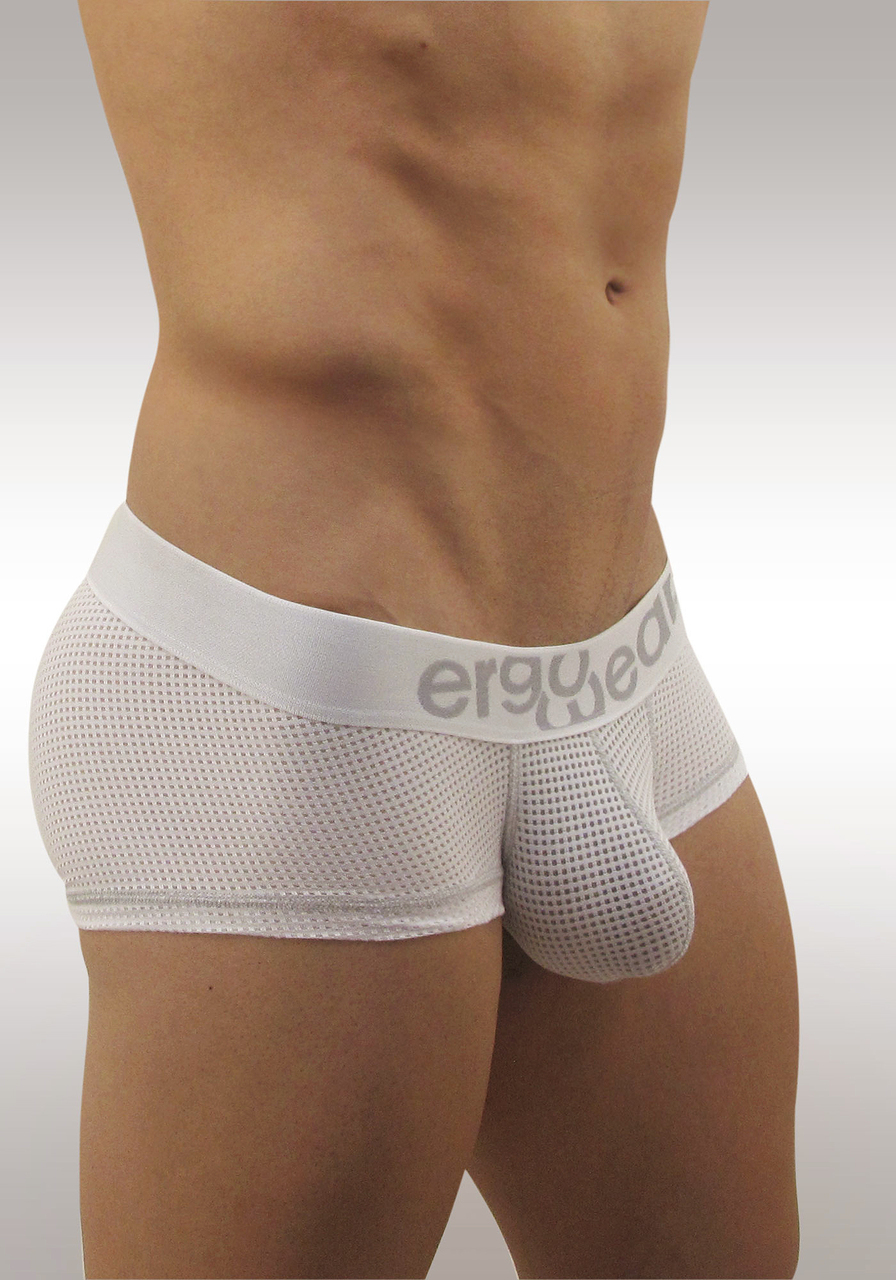Mesh mens underwear with pouch MAX Mesh Boxer White/Grey - Side