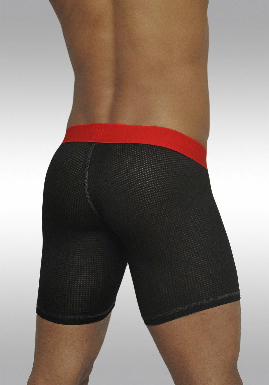 Men's mesh midway briefs with MAX pouch Black/Red - Back view