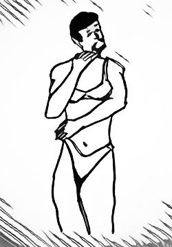 Man wearing woman's underwear