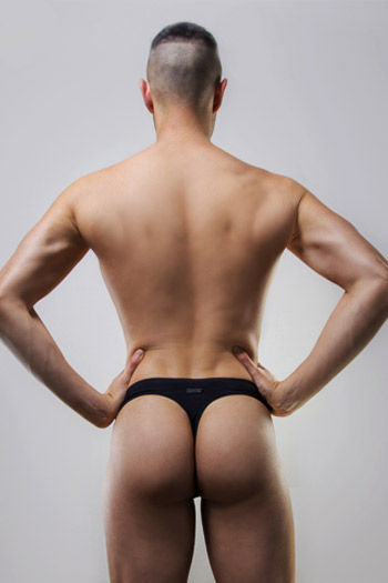 Male Swim Thong Black